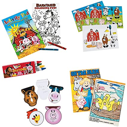 Mr  E=mc2 Farm Animal Stickers, Coloring Book, Crayons, Activity Pad and  Notepads for Kids - 9 Pcs - Fun Farm Activities for Birthday Party