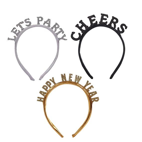 PIXNOR 2Pcs Happy New Year Headband Glitter Sparkle Hair Band Tiara Hair Hoop New Year Head Bopper Headwears for 2021 New Year Eve Christmas Party Favors Supplies