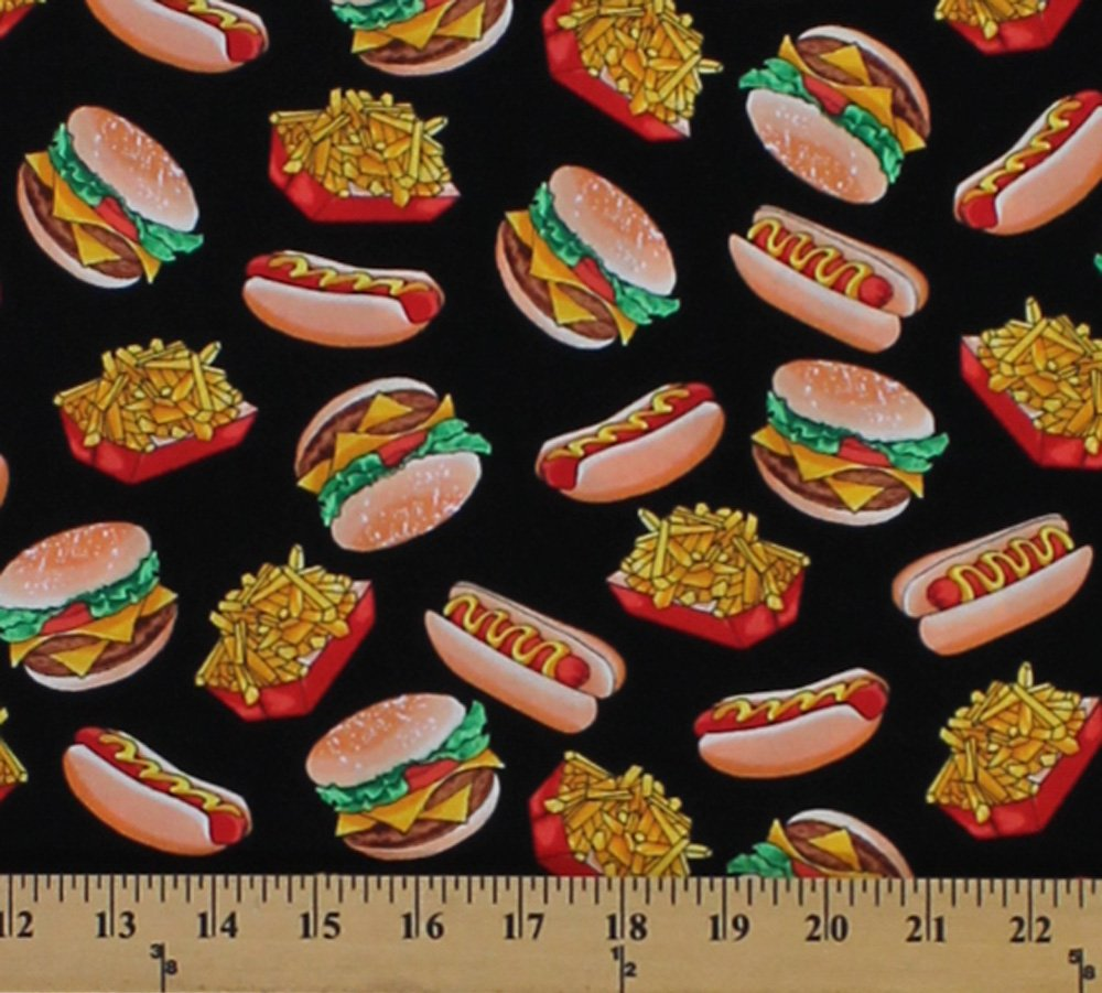 Cotton Arnold's Diner Hot Dogs Hamburgers French Fries Fast Food Black Cotton Fabric Print by the Yard (05827-99) by Kanvas Studio   B00ZRSQFMM