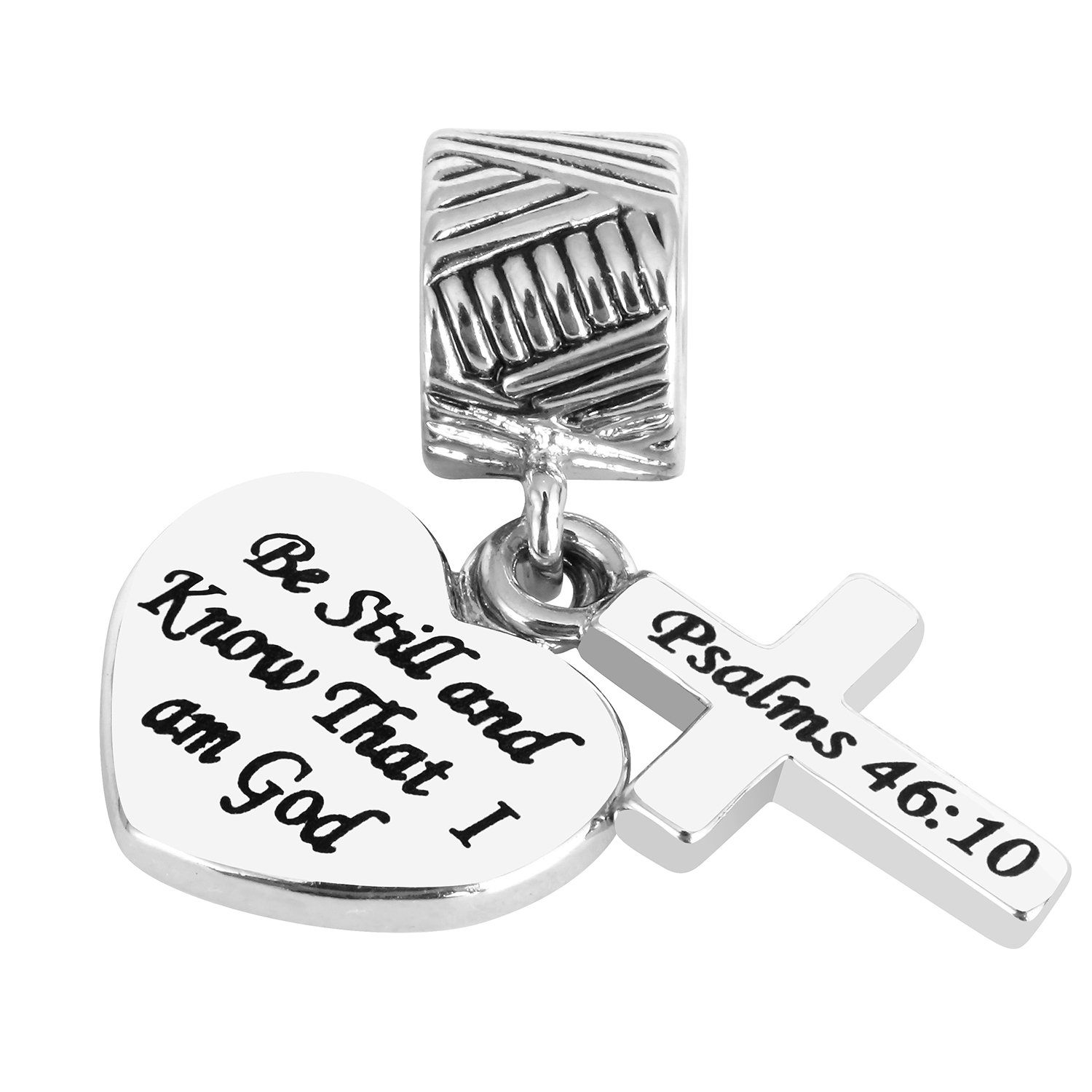 Religious Jewelry Gifts for Girls Women Sisters Cross Silver Charms Bible Verse Charm Christian Heart Charm Bead Religious Charms for Bracelets Necklace JHMY B07F3CZNW8_US