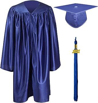 GraduationMall 2021 Preescolar Graduación Toga y Birrete Brillante para Niños Jardín de Infancia Niño Niña Regalo 12 Colores