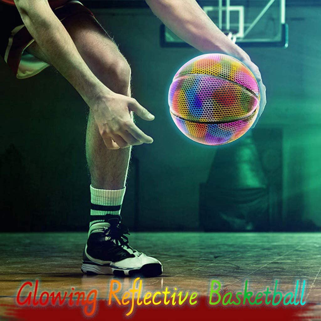 Light Up Basketball Bright Led Basketball Night Optical Illusion Lamp as a Gift Ideas for Boys or Kids Led Outdoor Glow in The Dark Official Sports 1px, Multicolor