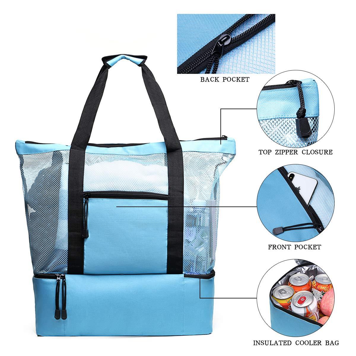 Tang Xiao Bang Beach Tote Mesh Beach Bags Insulated Picnic Cooler Pool Bag with Zipper Top for Women (Sky Blue)