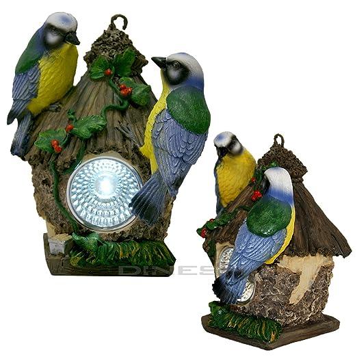 LED Vogelhaus Gartenbeleuchtung Solarleuchte Vogelhäuschen Lichtsensor
