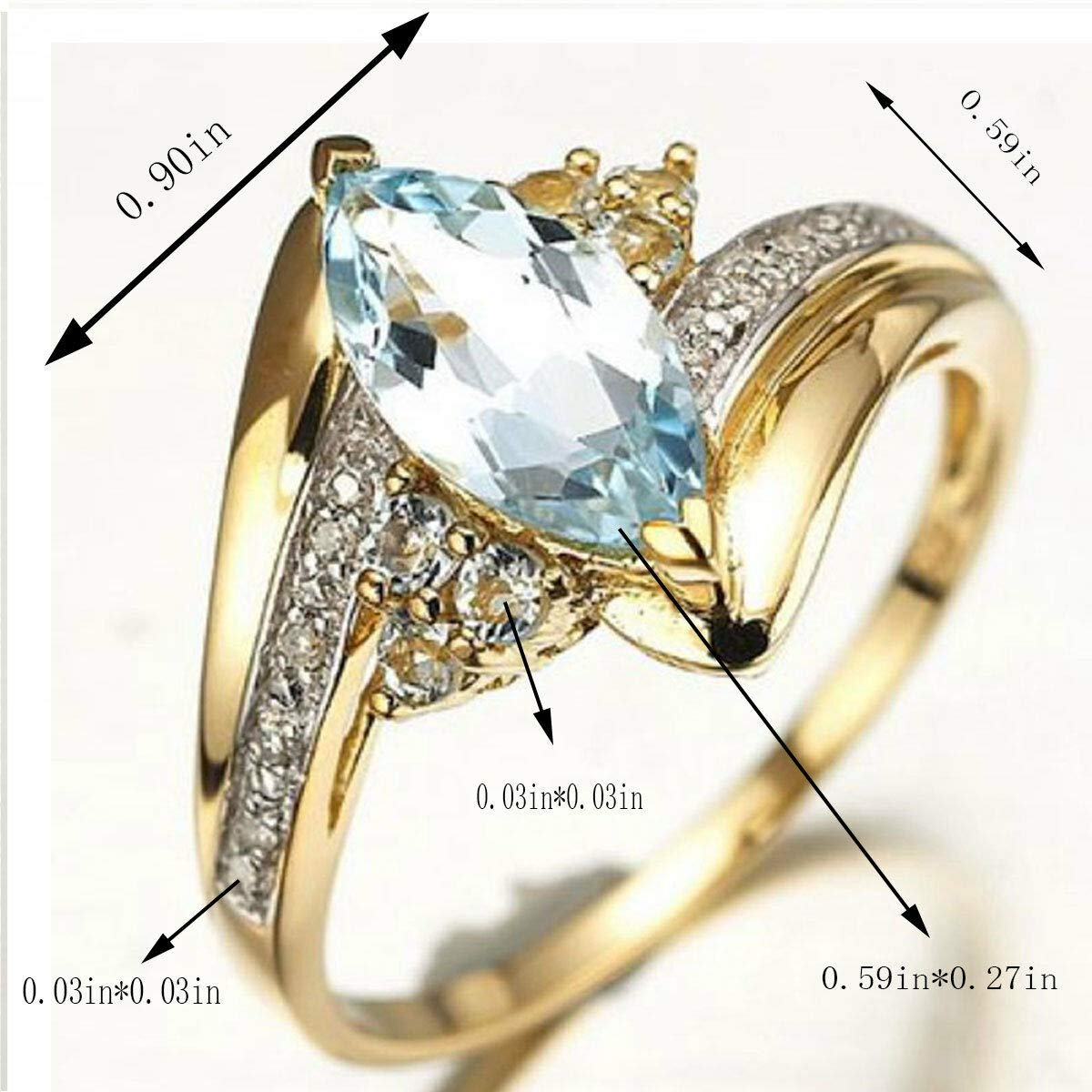7 K Jewelry Marquise Cut Halo Aquamarine 18K Gold Filled Womans Rings Gift