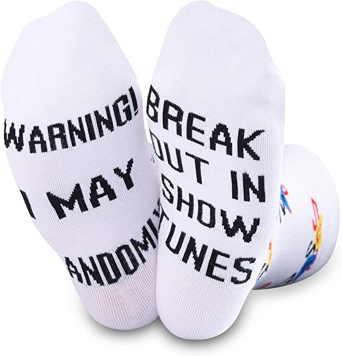 TSOTMO Theatre Novelty Socks Warning I May Randomoly Break Out In Show Tunes Socks Broadway Musical Theater Gift