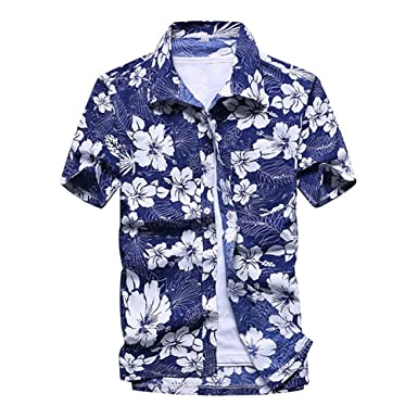 c419af77 Uwback Hawaiian Shirt for Men Summer Short Sleeve Printed Casual Shirts Mens  Plus Size Fashion Beach Shirts at Amazon Men's Clothing store: