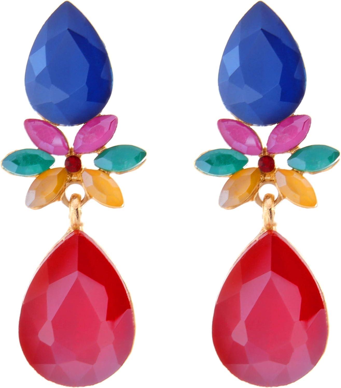 TEMPUS FUGIT. Pendientes para mujer largos Antialérgicos Gotas de color chapados en Oro con cristales de colores brillantes