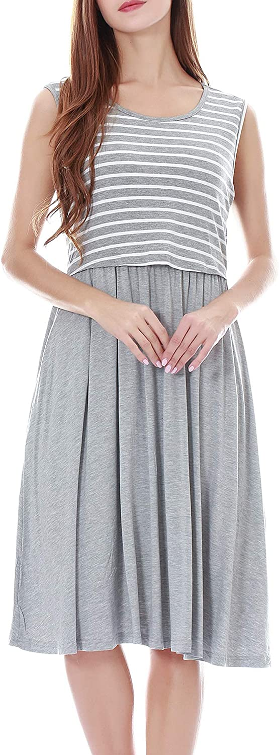 Smallshow Womens Sleeveless Patchwork Maternity Nursing Dress with Pockets