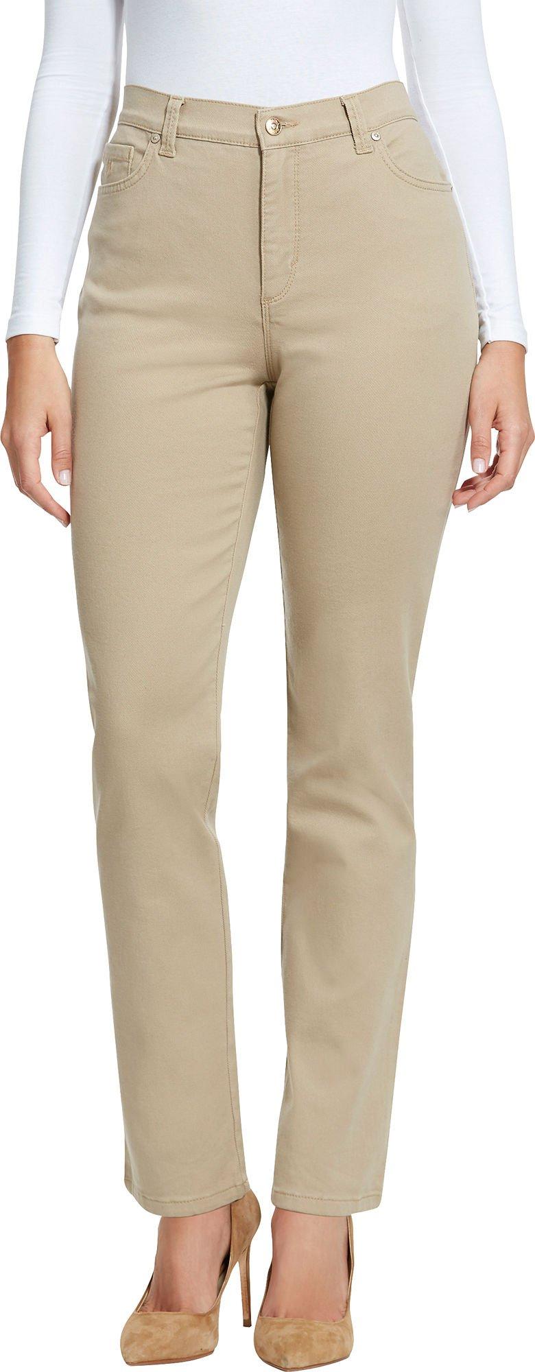 Gloria Vanderbilt Amanda Colored Straight Leg Denim Jeans Perfect Khaki 14 Short