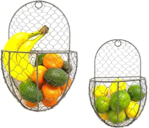 THE NIFTY NOOK Farmhouse Metal and Wire Hanging Wall Storage Baskets - for Flowers, Fruits and Veggies Home Kitchen - Set of 2