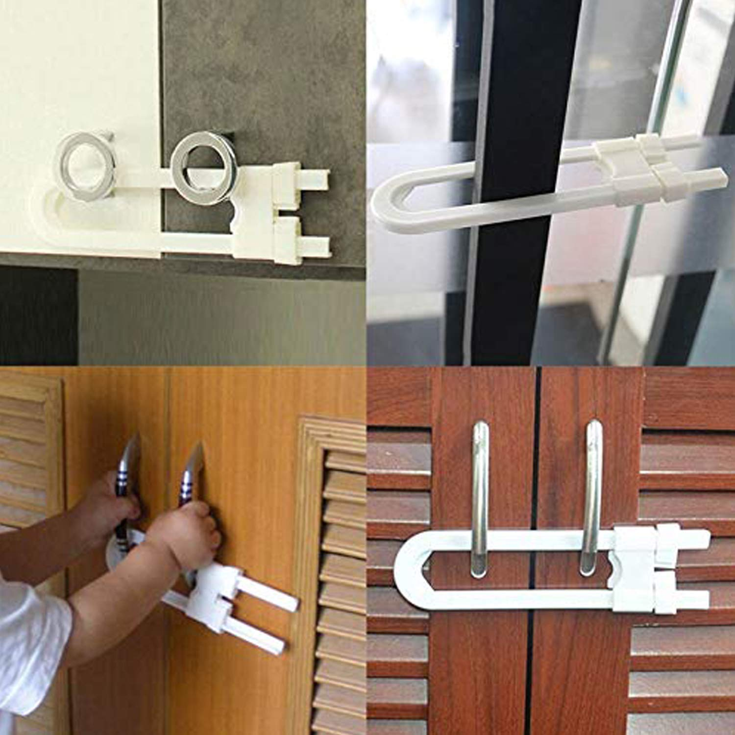 10-Pack Sliding Lock Latches Child Proof Baby Safety Design for Kitchen Cabinet Door Handle