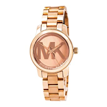 418f57254b41 Image Unavailable. Image not available for. Color  Michael Kors Women s  Mini Runway Rose Gold-tone Stainless Steel ...