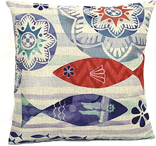 Amazon Com Vanki Ocean Serial Cotton Linen Square Decorative Throw Pillow Case Cushion Cover 18x 18 Inches Retro Blue And Coral Fish Printing Pattern Home Kitchen