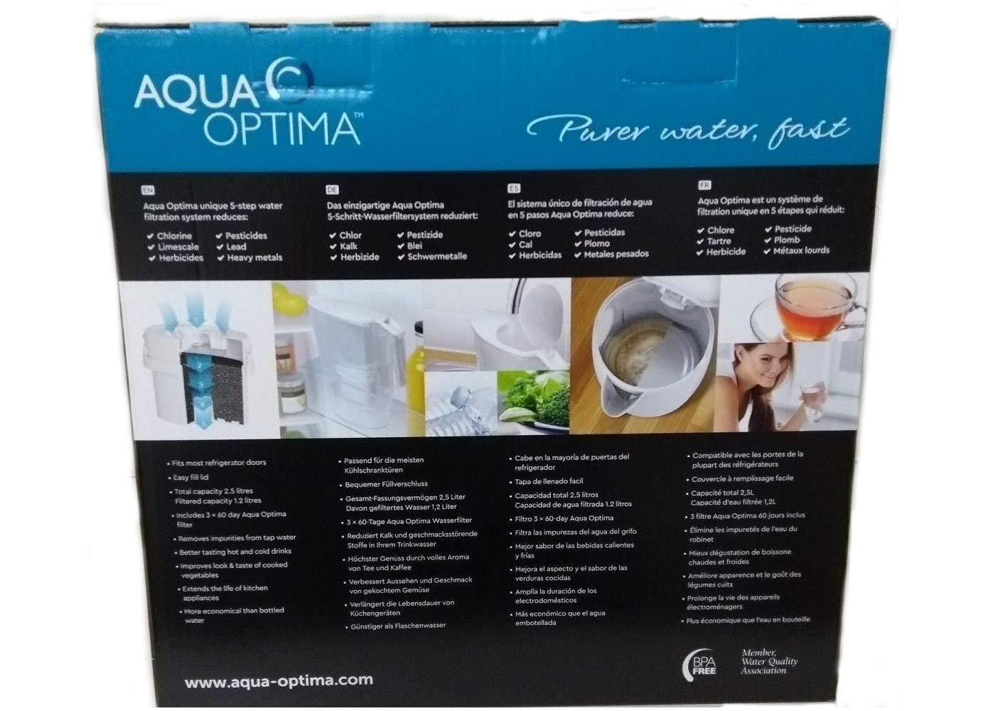 Aqua Optima Liscia - Jarra con purpurina de agua (paquete de 6 ...
