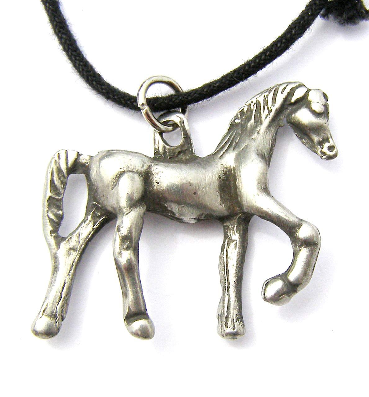 Cheval debout Pendentif en é tain sur collier cordon, cheval, Equine Cadeau Tribal Arts