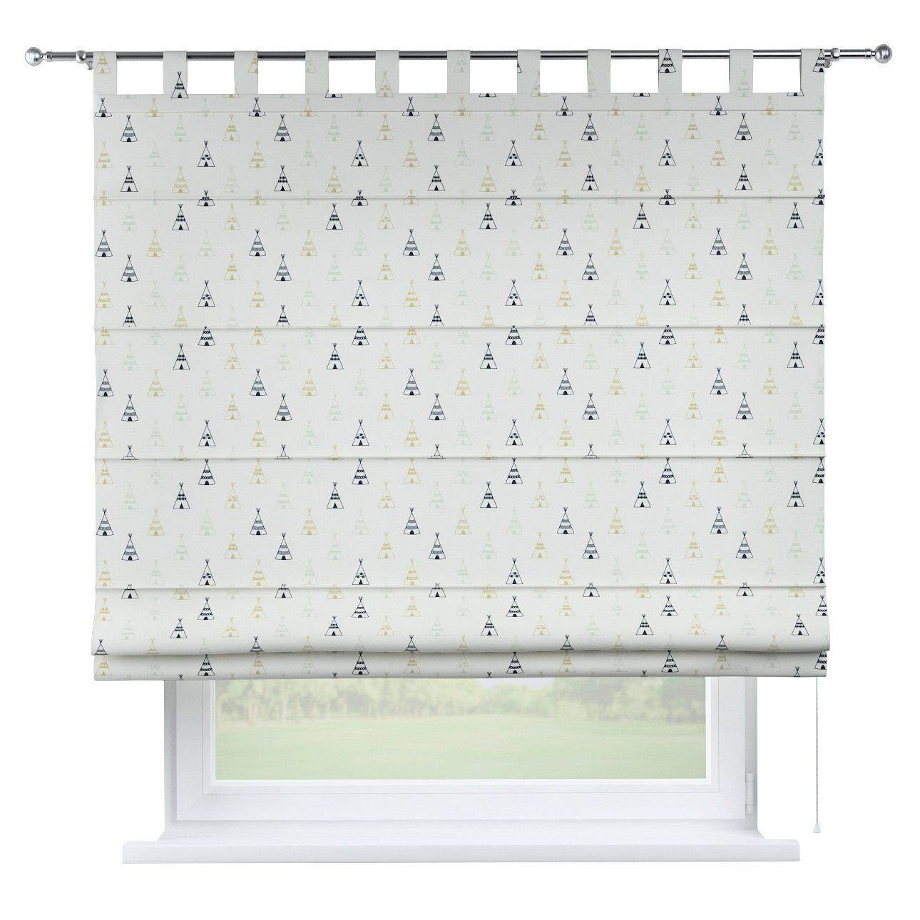 Dekoria Raffrollo Verona ohne Bohren Blickdicht Faltvorhang Raffgardine Wohnzimmer Schlafzimmer Kinderzimmer 100 × 170 cm weiß-schwarz-grau Raffrollos auf Maß maßanfertigung möglich
