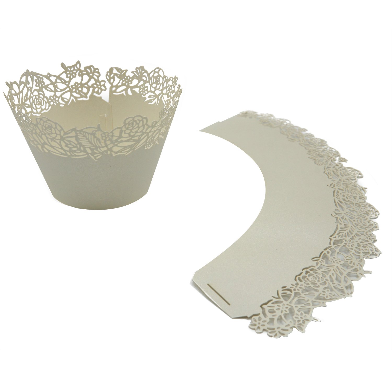 Cupcake Wrappers Pack of 50 Beige Filigree Artistic Bake Cake Paper Cups Little Vine Lace Laser Cut Liner Baking Cup Muffin Case Trays for Wedding Party Birthday Decoration By KEIVA Beige