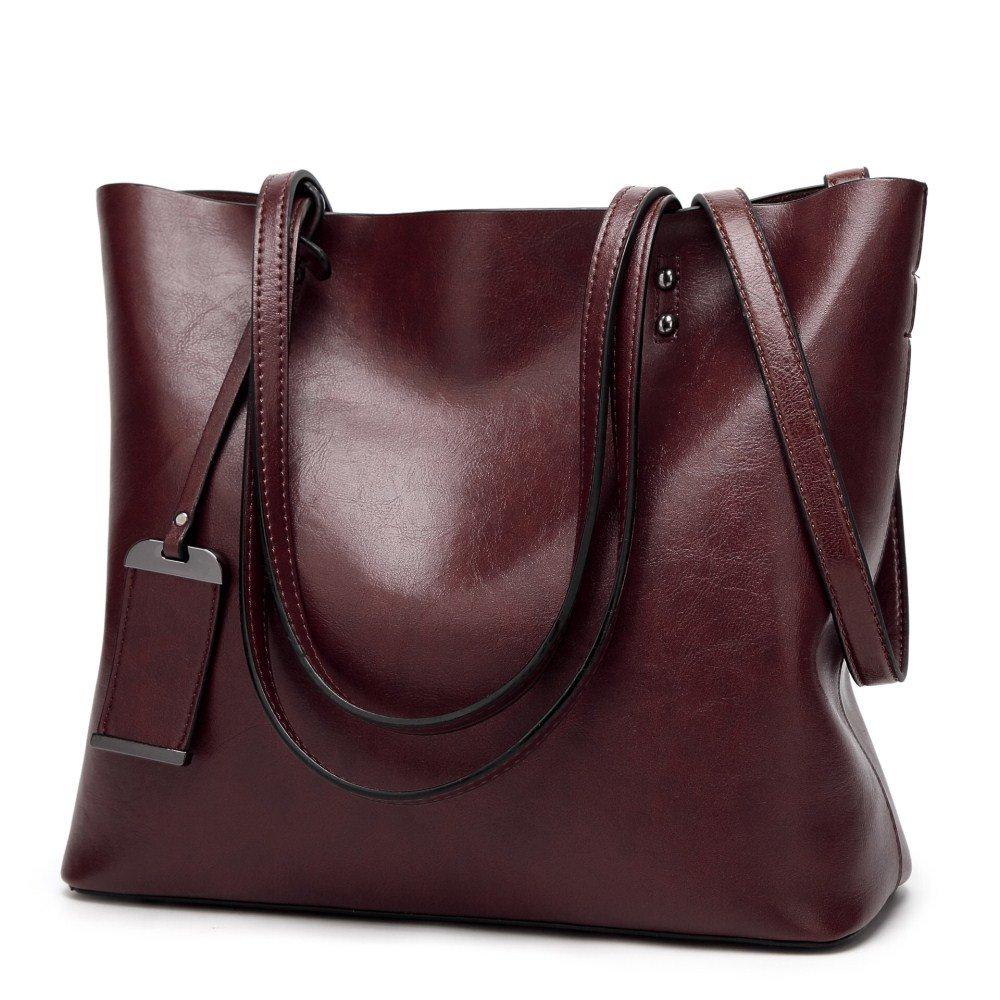 Amyhui Ladies Leather Tote Purses Handbags Shoulder Bag Hobo Handbags (Coffee)