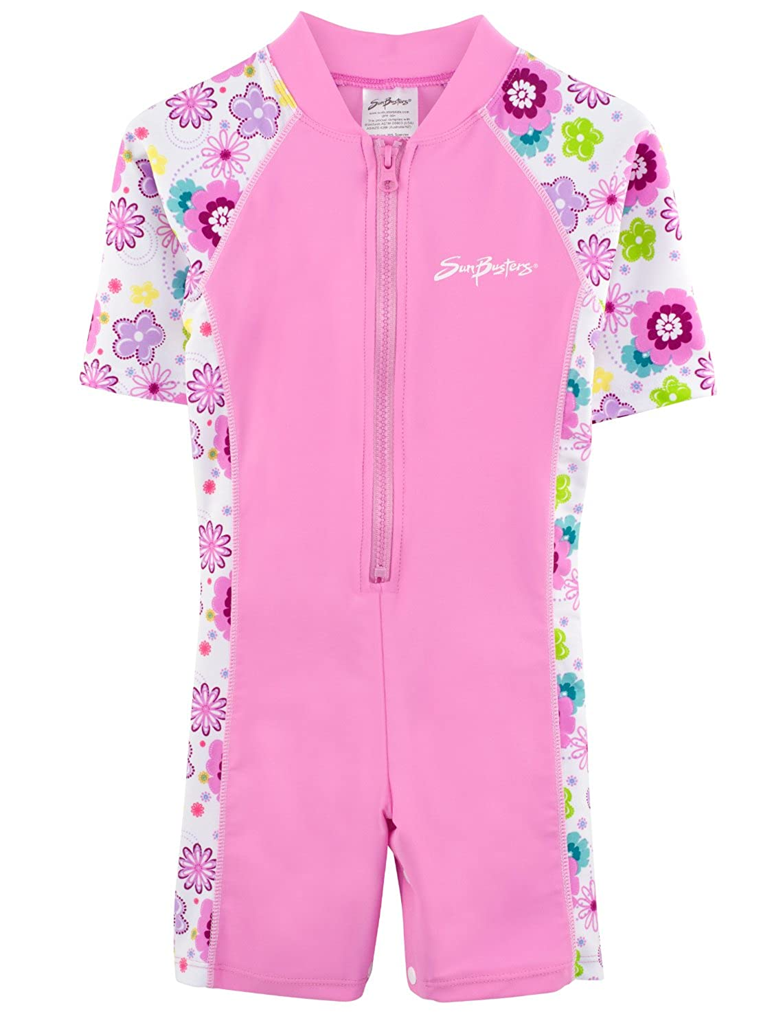 SunBusters Girls One Piece Short Sleeve Sunsuit, UPF 50+ Sun Protection