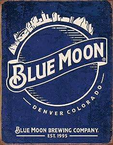 Desperate Enterprises Blue Moon - Skyline Logo Retro Tin Sign, 12.5