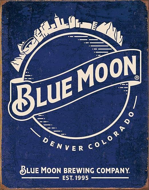 BLUE MOON SKYLINE VINTAGE RETRO METAL TIN SIGN HOME DECOR BAR GARAGE