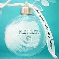 Feather Memorial Bauble Personalised Glass Globe Family Christmas Tree Decoration Handmade Keepsake