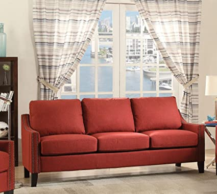 Amazon.com: Simple Relax Zapata Contemporary Red Fabric Sofa ...