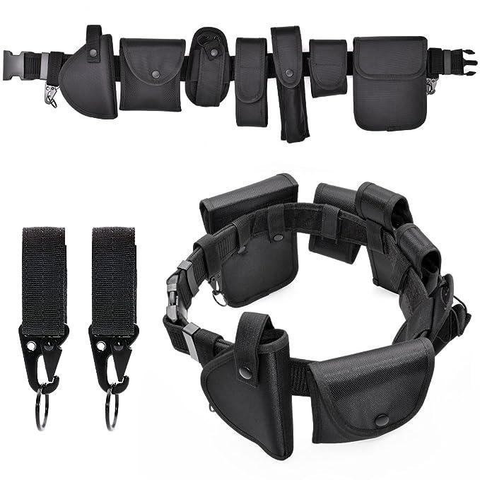 98b1f474a Policía cinturón seguridad sistema de equipo táctico ejército Heavy Duty  juego de cinturón de nailon al aire libre versátil combate militar cinturón  negro ...