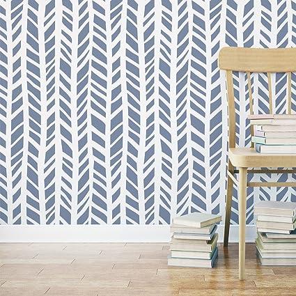 J BOUTIQUE STENCILS Herringbone Pattern Allover Zoe Stencil - Reusable Wall  Stencil For DIY Decor