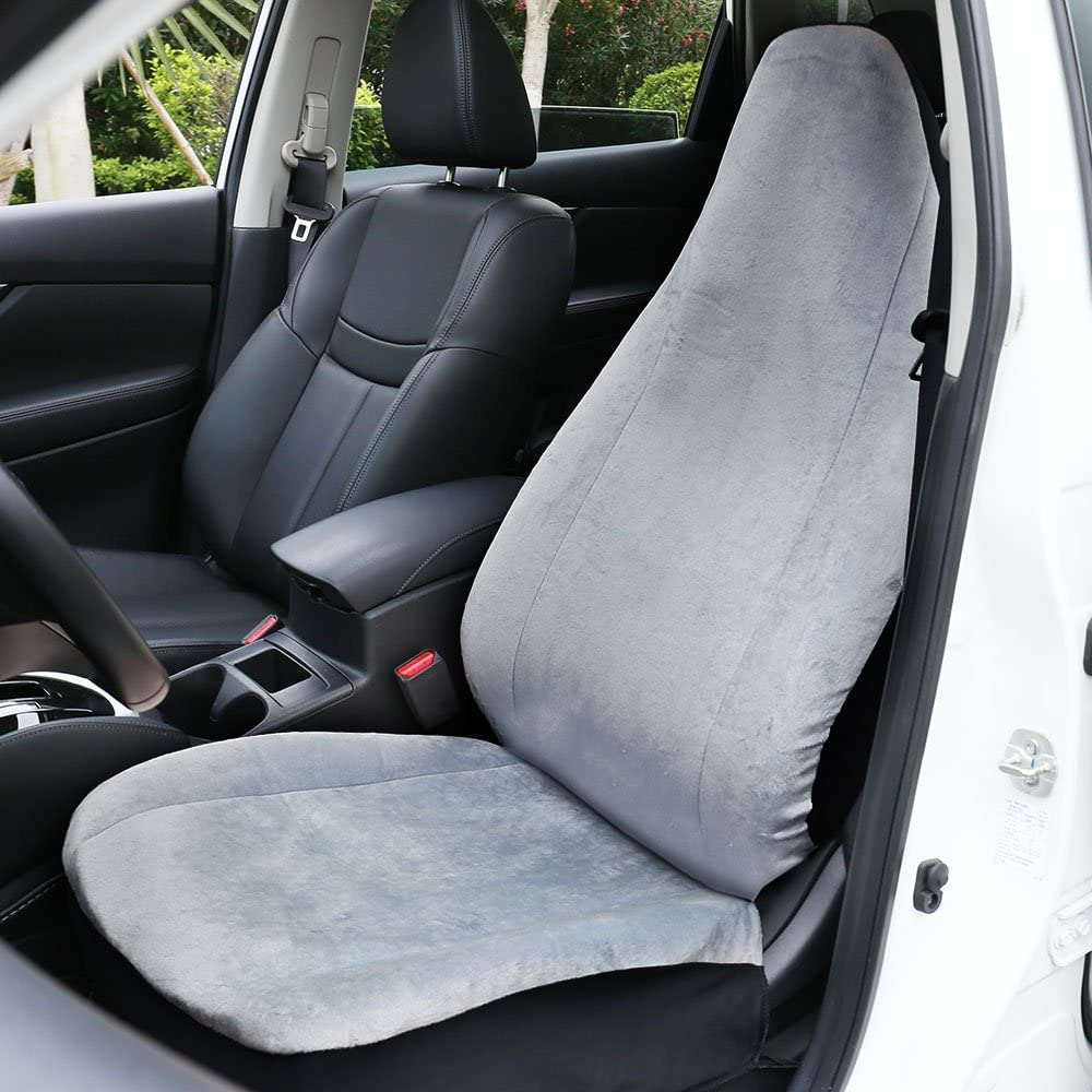 Leader Accessories RAM Vinyl Universal Fit Auto Leather Seat Cover for Car Front Seats with Airbag Black