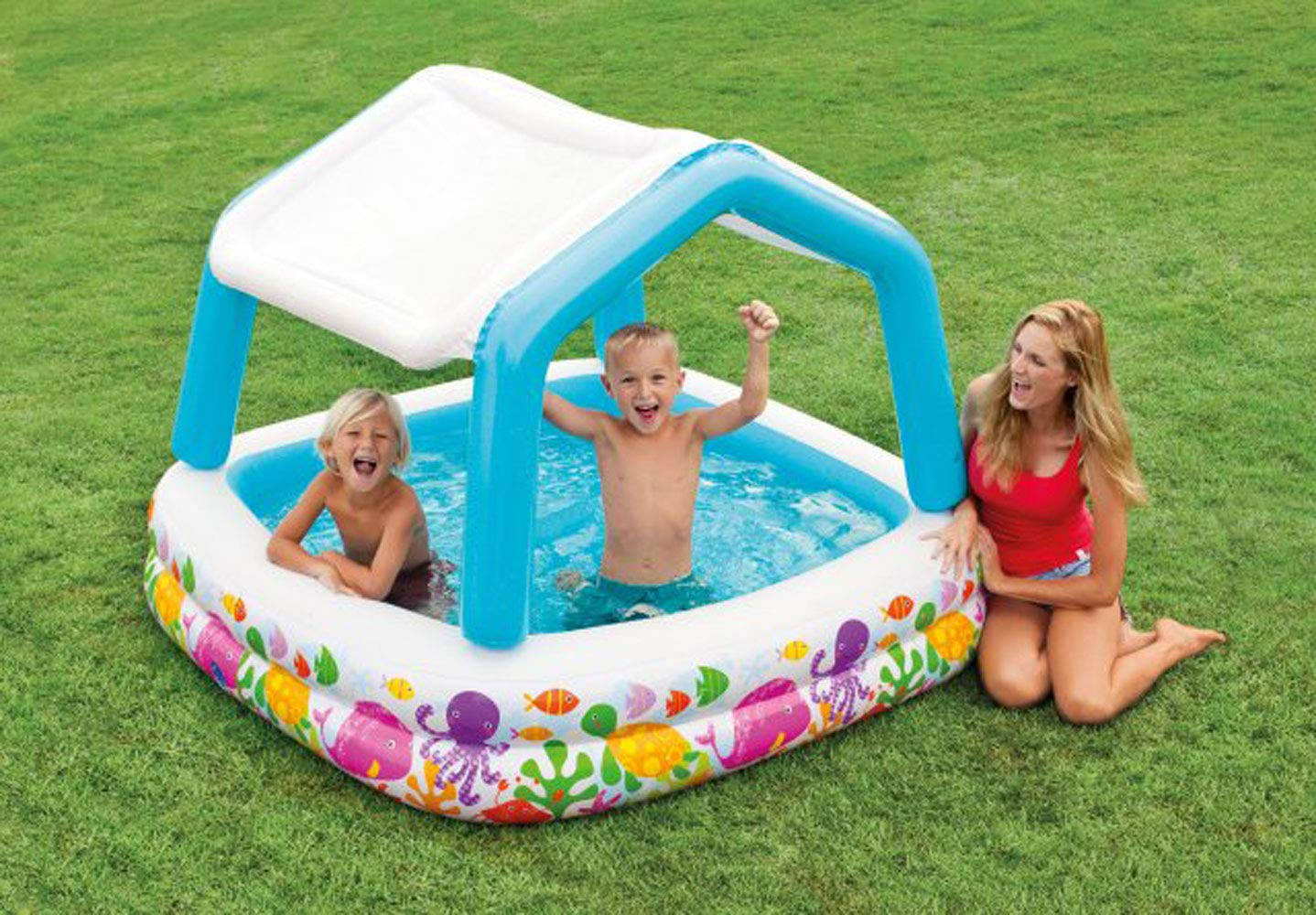 INTEX Sun & Shade Inflatable Kids Swimming Pool w/ Canopy + Quick Fill Pump by Intex