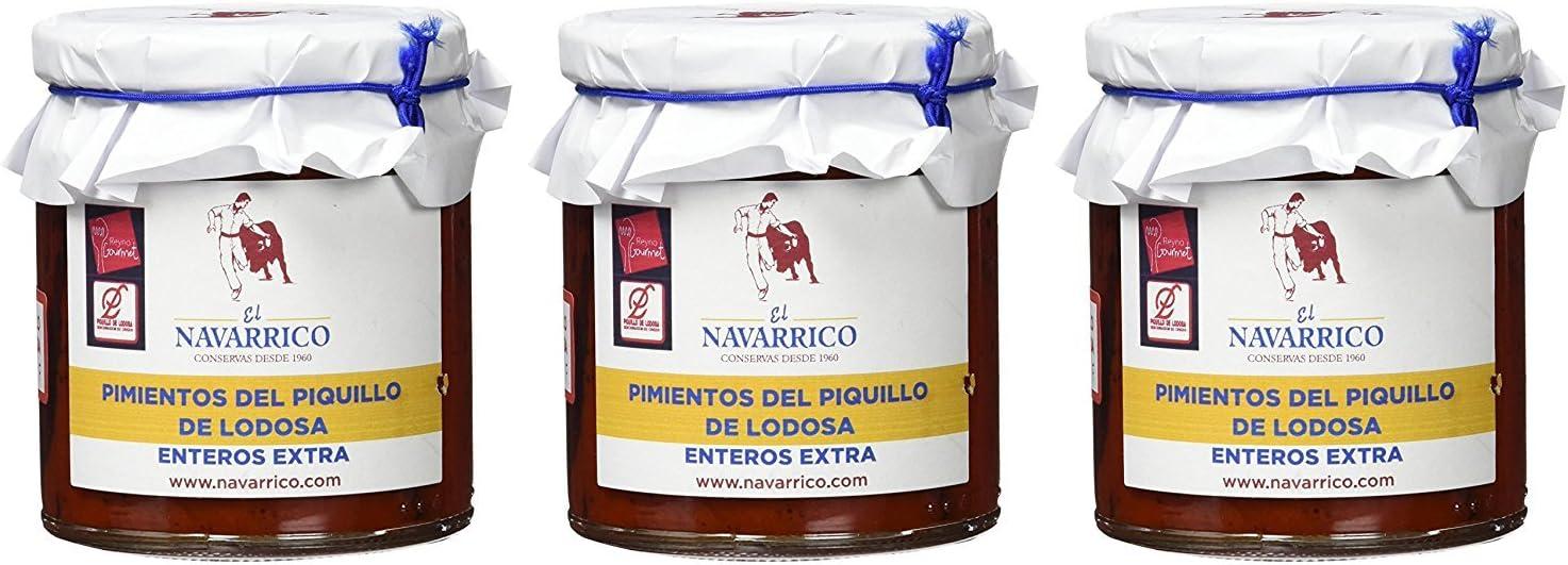 EL NAVARRICO - Pimientos del piquillo de Lodosa enteros extra 400 gr - pack de 3
