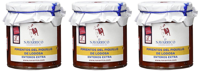 Pimientos del piquillo de Lodosa enteros extra El Navarrico - Pack de 3