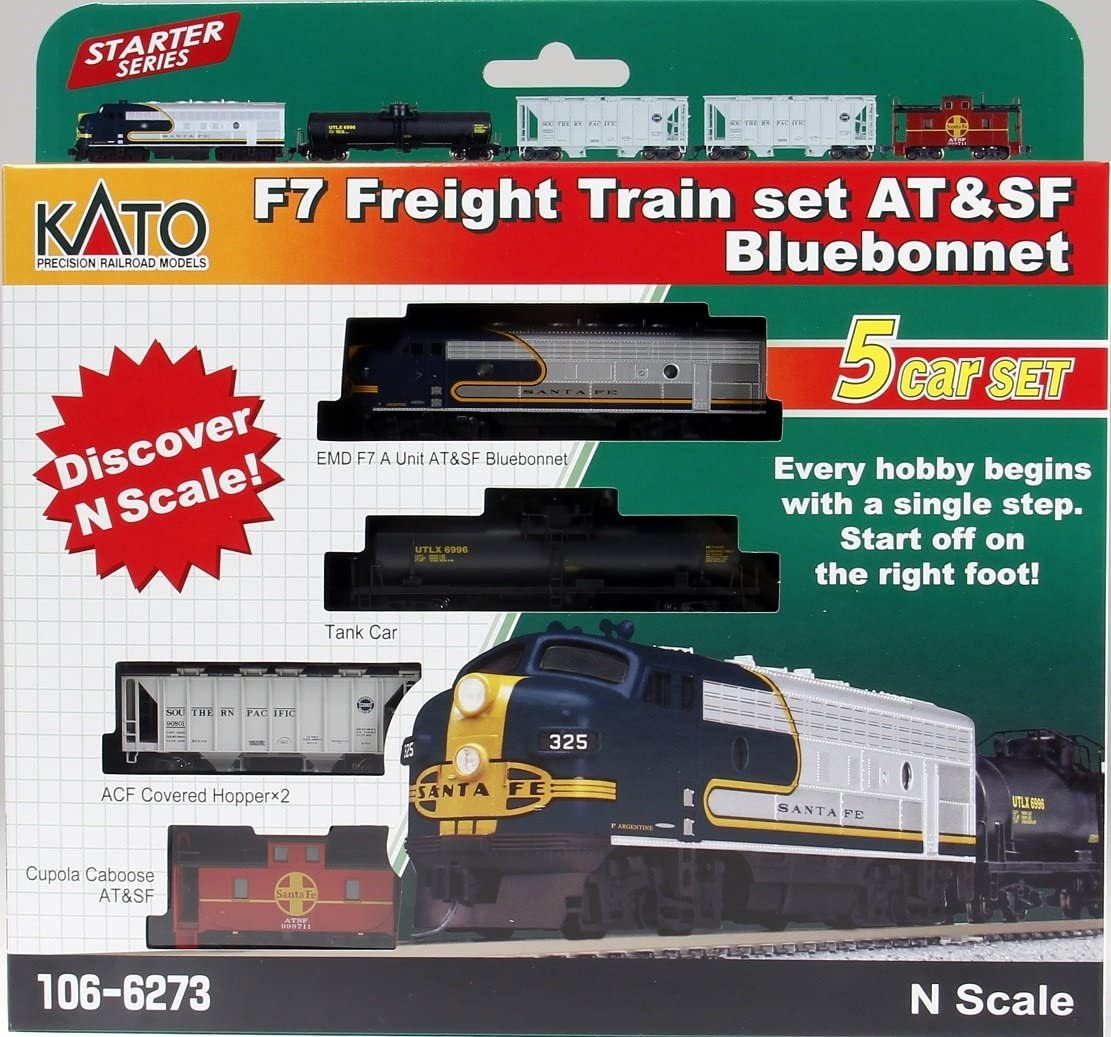 Amazon Com N F7 Freight Train Set Santa Fe Bluebonnet 5 Unit Set Toys Games