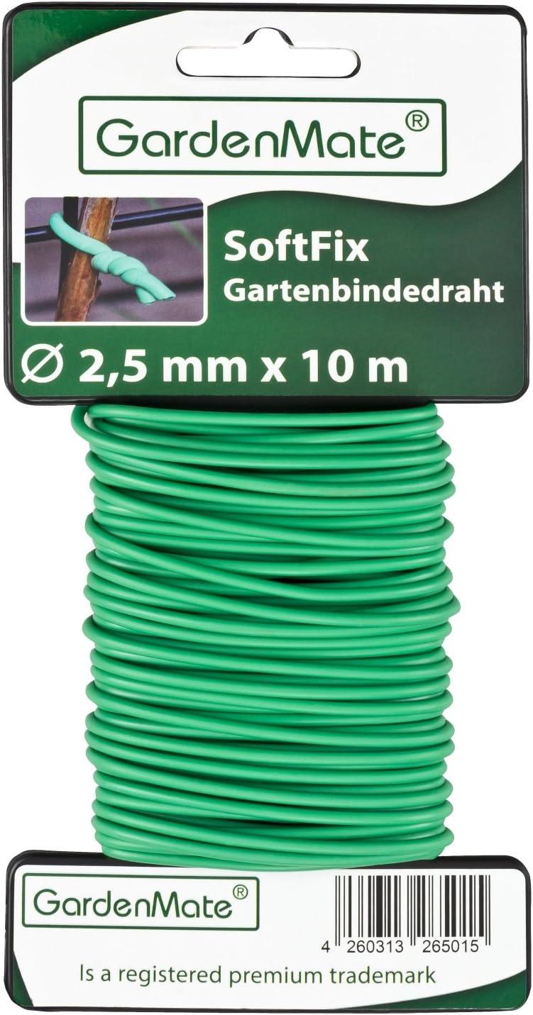 GardenMate Alambre expandido para jardín - 2,5 mm x 10 m - Revestido de Goma
