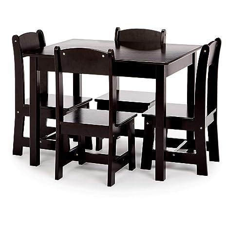 Phoenix Home Fermo Kids Wood Table and Chair Set, Vanilla Bean Black
