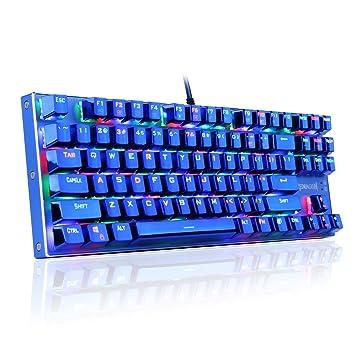 SYMTOP Redragon K566B-RGB Teclado para Juegos Mecánicos, RGB Retroiluminado, con Estilo Azul