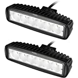 Miady 6 Inch LED Light Bar 18W Flood Work Light Off Road lights for SUV, ATV, Jeep, 4x4, Pickup Truck, Boat (Pack of 2)