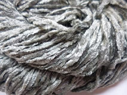 Amazon com: Fingering Weight Silver Gray Rayon Chenille Yarn