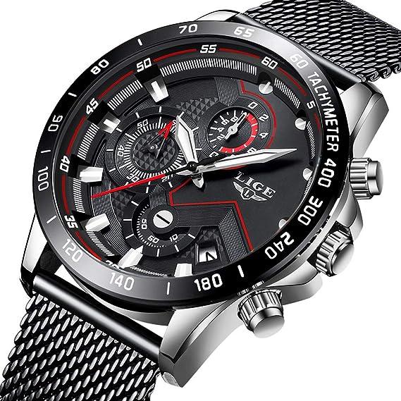 Relojes para Hombres,LIGE Acero Inoxidable Impermeable Reloj Analógico de Cuarzo