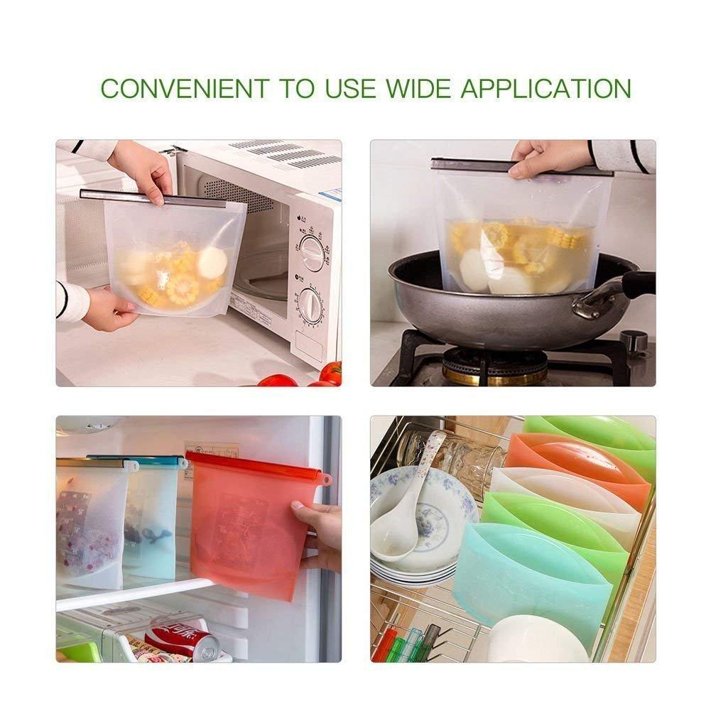 DeHub -Bolsas para Alimentos reciclables, Resistente a Fugas (4 x ...