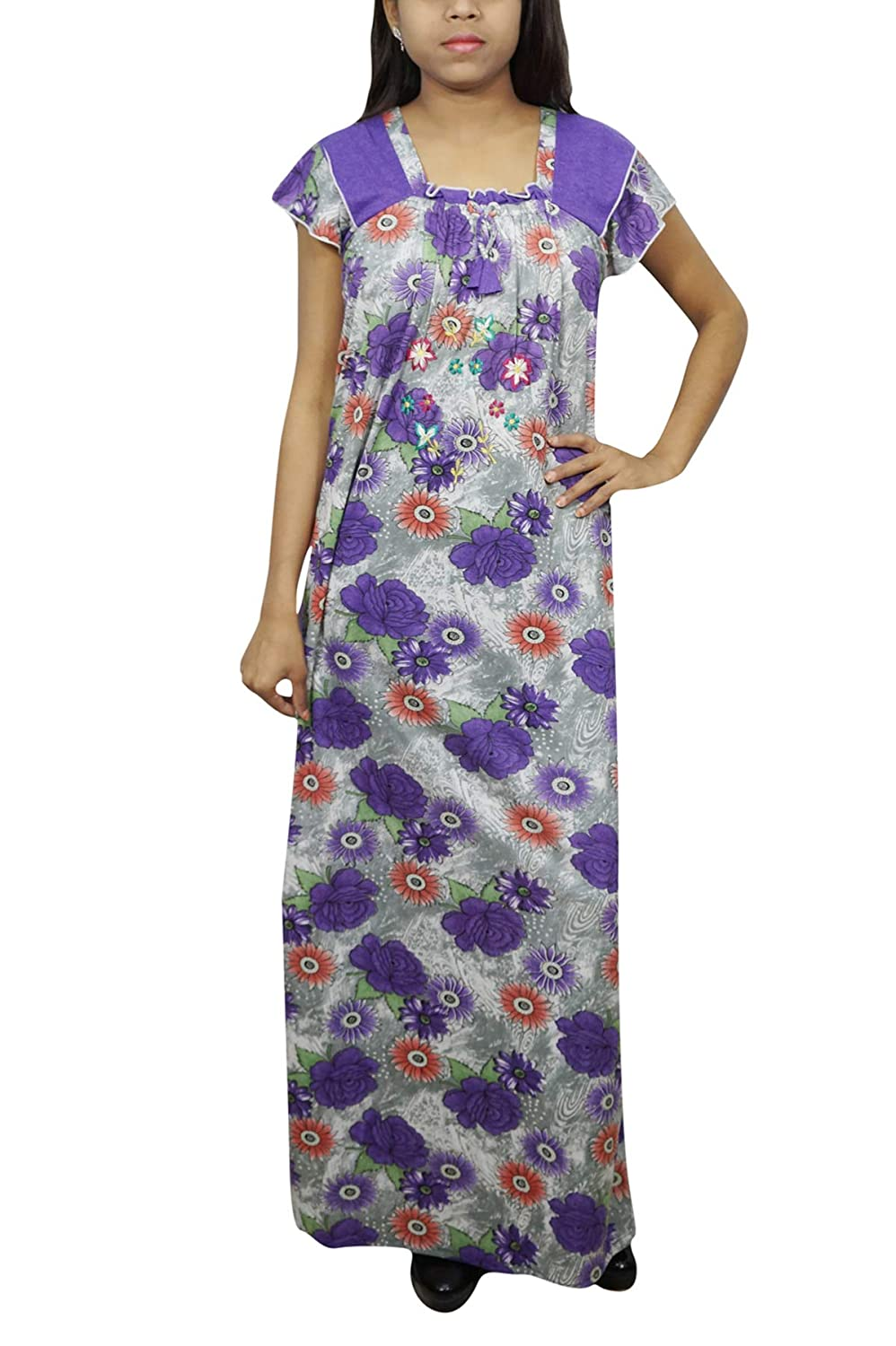 Indiatrendzs Women s Nightdress Floral Printed Hosiery Purple Loose Nighty  S  Amazon.in  Clothing   Accessories 5eb257455