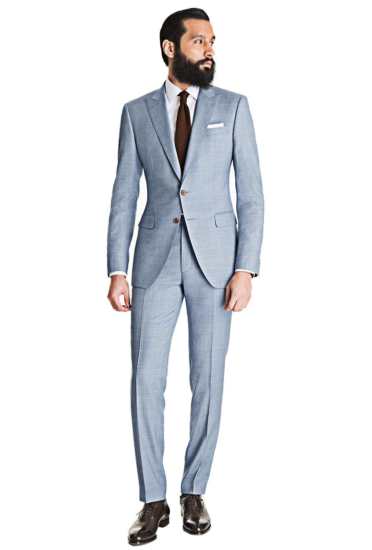 Dressvip 2018 Simple Costume Homme Mariage Affaires Couleur Unie Bleu 2  Pièces Veste Pantalons 35dd2e45f4ab