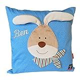 Sigikid Kinder-Kissen mit Ihrem Wunsch Namen in der abgebildeten Stickschrift bestickt Semmel Bunny 42 cm x 42 cm mit Füllung Namenskissen (blau)