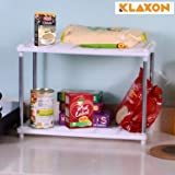 Klaxon Space Saving 2 Layer Storage Organizer Rack for Kitchen, Bathroom and Bedroom - White