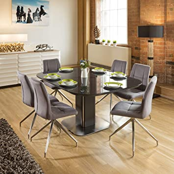 Quatropi Dining Set Grey Glass Square Extending Table + 6 Grey Swivel Chairs Amazon.co.uk Kitchen u0026 Home & Quatropi Dining Set Grey Glass Square Extending Table + 6 Grey ...