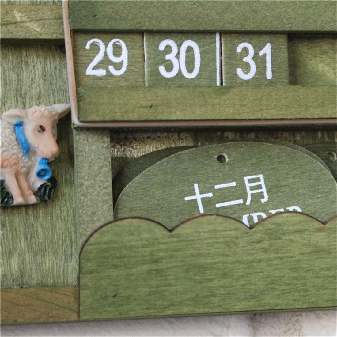 SODIAL Retro rustic creative bilingual furniture Mediterranean can hang wood manual calendar calendar crafts