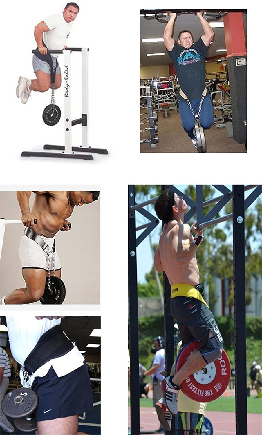 HemeraPhit Pull-up Belt Weighted Dip Belt with Chain Double D-ring Weightlifting Back Support Strap Home Gym Equipment Waist Belt