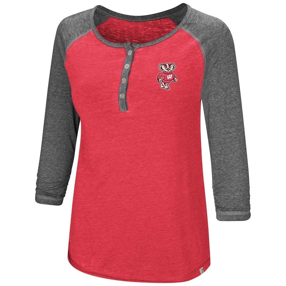 Colosseum Womens Wisconsin Badgers Henley 3 / 4長袖Teeシャツ B07DWSKG6D  X-Large